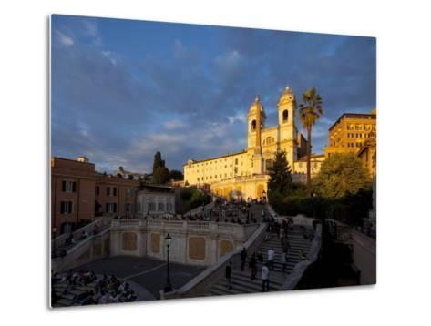 Trinita Dei Monti Church, Piazza Di Spagna, Spanish Steps, Rome, Italy, Europe-John Miller-Metal Print