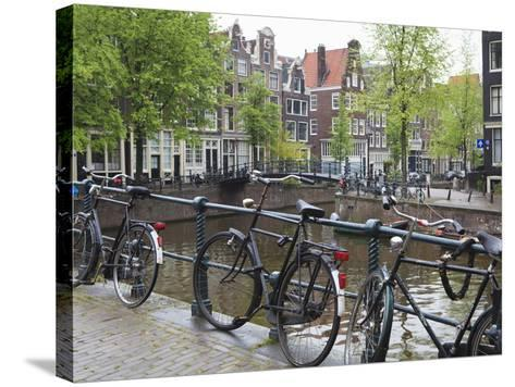 Bicycle, Brouwersgracht, Amsterdam, Netherlands, Europe-Amanda Hall-Stretched Canvas Print