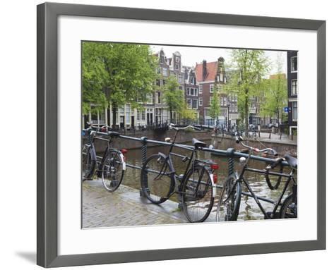Bicycle, Brouwersgracht, Amsterdam, Netherlands, Europe-Amanda Hall-Framed Art Print