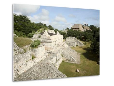 The Twin Pyramids, Mayan Ruins, Ek Balam, Yucatan, Mexico, North America-Balan Madhavan-Metal Print