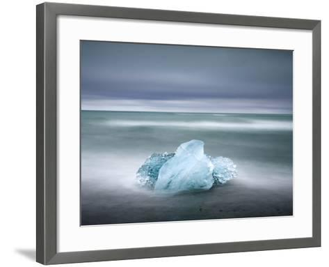 Piece of Glacial Ice Washed Ashore By the Incoming Tide Near Glacial Lagoon at Jokulsarlon, Iceland-Lee Frost-Framed Art Print