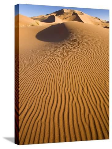 Rolling Orange Sand Dunes and Sand Ripples in the Erg Chebbi Sand Sea Near Merzouga, Morocco-Lee Frost-Stretched Canvas Print