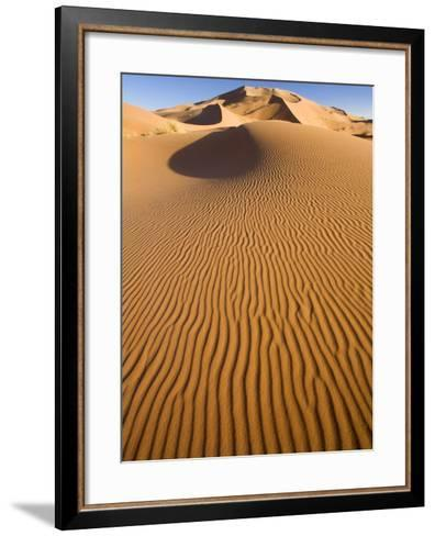 Rolling Orange Sand Dunes and Sand Ripples in the Erg Chebbi Sand Sea Near Merzouga, Morocco-Lee Frost-Framed Art Print