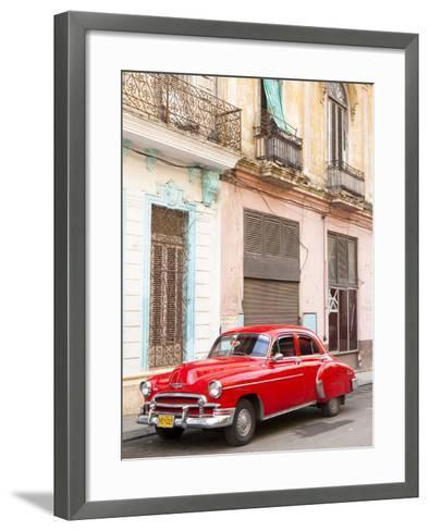 Restrored Red American Car Pakred Outside Faded Colonial Buildings, Havana, Cuba-Lee Frost-Framed Art Print