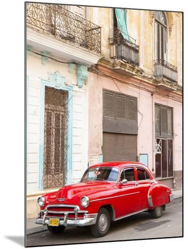 Restrored Red American Car Pakred Outside Faded Colonial Buildings, Havana, Cuba-Lee Frost-Mounted Photographic Print