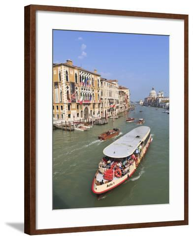 Vaporetto Water Bus, Grand Canal, Venice, UNESCO World Heritage Site, Veneto, Italy, Europe-Amanda Hall-Framed Art Print