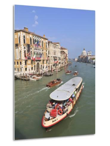 Vaporetto Water Bus, Grand Canal, Venice, UNESCO World Heritage Site, Veneto, Italy, Europe-Amanda Hall-Metal Print