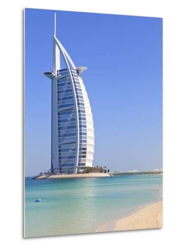 Burj Al Arab Hotel, Jumeirah Beach, Dubai, United Arab Emirates, Middle East-Amanda Hall-Metal Print