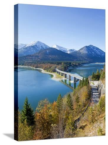 Road Bridge Over Lake Sylvenstein, With Mountains in the Background, Bavaria, Germany, Europe-Gavin Hellier-Stretched Canvas Print