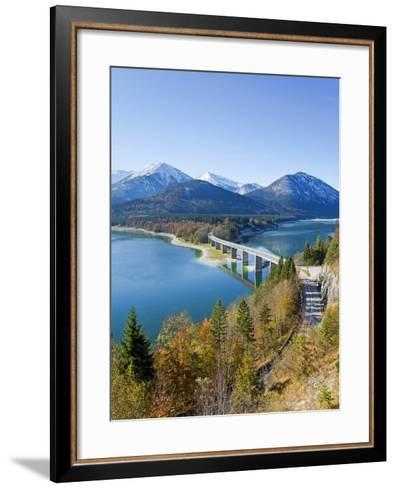 Road Bridge Over Lake Sylvenstein, With Mountains in the Background, Bavaria, Germany, Europe-Gavin Hellier-Framed Art Print
