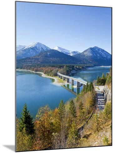 Road Bridge Over Lake Sylvenstein, With Mountains in the Background, Bavaria, Germany, Europe-Gavin Hellier-Mounted Photographic Print