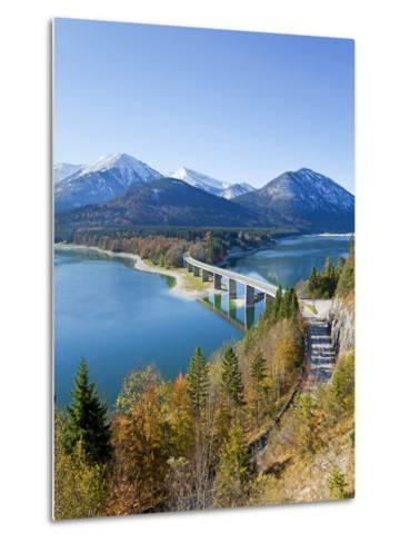 Road Bridge Over Lake Sylvenstein, With Mountains in the Background, Bavaria, Germany, Europe-Gavin Hellier-Metal Print