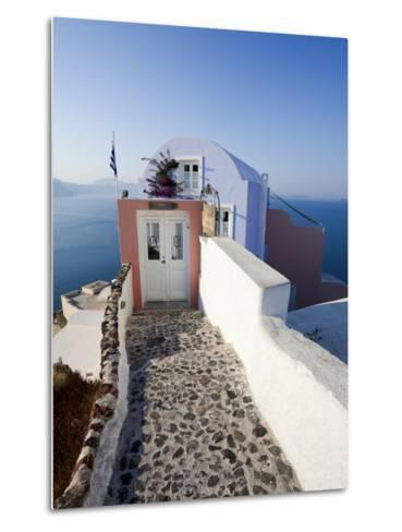 Entrance to a Typical Village House in Oia, Santorini (Thira), Cyclades Islands, Greece-Gavin Hellier-Metal Print