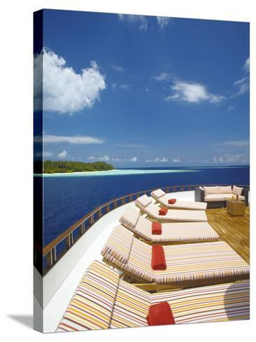 Yacht and Tropical Island, Maldives, Indian Ocean, Asia-Sakis Papadopoulos-Stretched Canvas Print