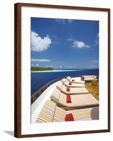 Yacht and Tropical Island, Maldives, Indian Ocean, Asia-Sakis Papadopoulos-Framed Art Print