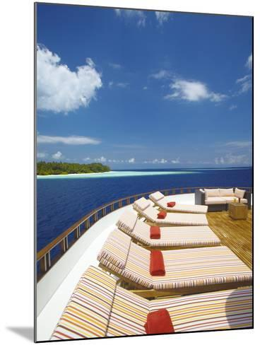 Yacht and Tropical Island, Maldives, Indian Ocean, Asia-Sakis Papadopoulos-Mounted Photographic Print