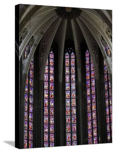 Stained Glass in Sainte-Croix (Holy Cross) Cathedral, Orleans, Loiret, France, Europe--Stretched Canvas Print