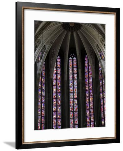 Stained Glass in Sainte-Croix (Holy Cross) Cathedral, Orleans, Loiret, France, Europe--Framed Art Print