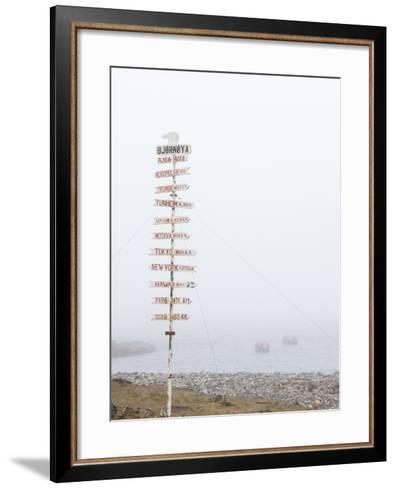 Destination Board, Spitzbergen, Bareninsel, Svalbard, Norway, Arctic, Scandinavia, Europe--Framed Art Print
