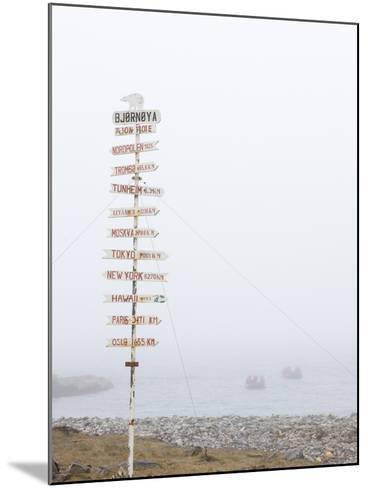 Destination Board, Spitzbergen, Bareninsel, Svalbard, Norway, Arctic, Scandinavia, Europe--Mounted Photographic Print