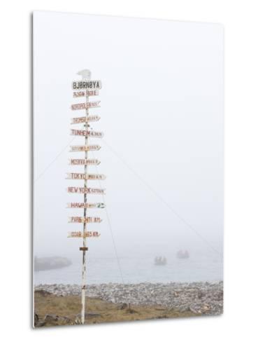 Destination Board, Spitzbergen, Bareninsel, Svalbard, Norway, Arctic, Scandinavia, Europe--Metal Print