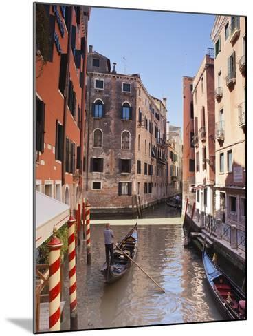 A Gondola on a Canal in Venice, UNESCO World Heritage Site, Veneto, Italy, Europe--Mounted Photographic Print