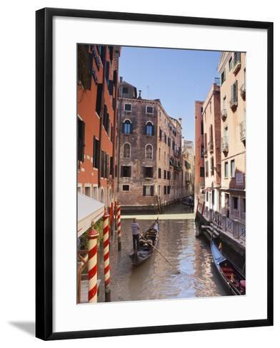 A Gondola on a Canal in Venice, UNESCO World Heritage Site, Veneto, Italy, Europe--Framed Art Print