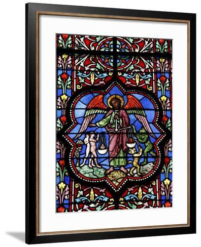 Stained Glass in Notre Dame De Bayeux Cathedral, Bayeux, Normandy, France, Europe--Framed Art Print