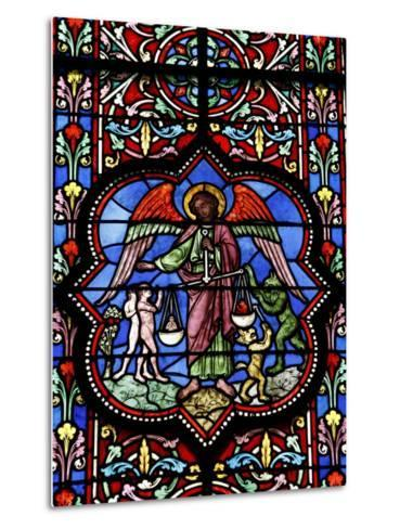 Stained Glass in Notre Dame De Bayeux Cathedral, Bayeux, Normandy, France, Europe--Metal Print