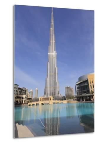 Burj Khalifa and Dubai Mall, Downtown, Dubai, United Arab Emirates, Middle East--Metal Print