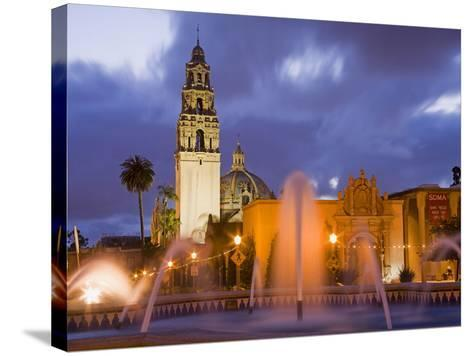Fountain and Museum of Man in Balboa Park, San Diego, California--Stretched Canvas Print