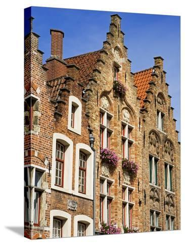 Gothic Buildings on Van Eyck Plaza, Bruges, West Flanders, Belgium, Europe--Stretched Canvas Print