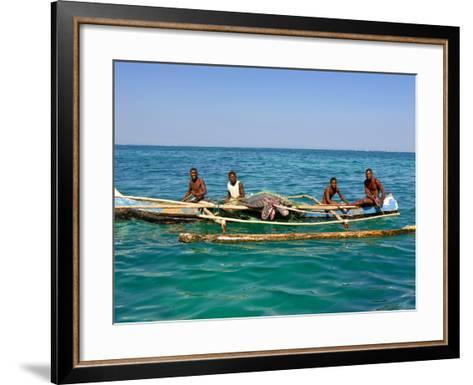 Traditional Rowing Boat in the Turquoise Water of the Indian Ocean, Madagascar, Africa--Framed Art Print
