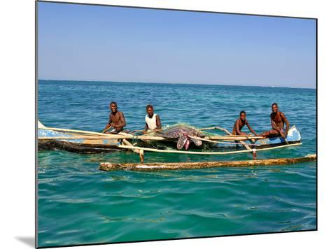 Traditional Rowing Boat in the Turquoise Water of the Indian Ocean, Madagascar, Africa--Mounted Photographic Print