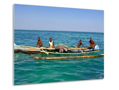 Traditional Rowing Boat in the Turquoise Water of the Indian Ocean, Madagascar, Africa--Metal Print