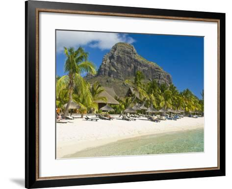 White Sand Beach of the Five Star Hotel Le Paradis, With Le Morne Brabant in Background, Mauritius--Framed Art Print