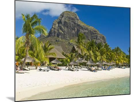 White Sand Beach of the Five Star Hotel Le Paradis, With Le Morne Brabant in Background, Mauritius--Mounted Photographic Print