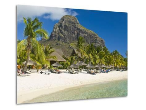 White Sand Beach of the Five Star Hotel Le Paradis, With Le Morne Brabant in Background, Mauritius--Metal Print