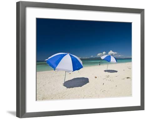 Parasols at the Beautiful Beach in Nosy Iranja, a Little Island Near Nosy Be, Madagascar--Framed Art Print