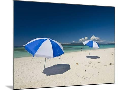 Parasols at the Beautiful Beach in Nosy Iranja, a Little Island Near Nosy Be, Madagascar--Mounted Photographic Print