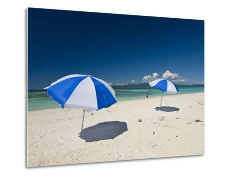 Parasols at the Beautiful Beach in Nosy Iranja, a Little Island Near Nosy Be, Madagascar--Metal Print