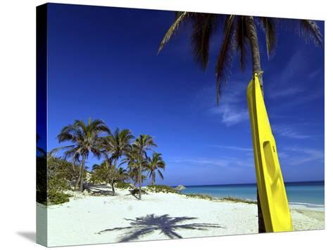 Yellow Canoe at the White Sand Beach of Playa Del Este, Cuba, West Indies, Caribbean--Stretched Canvas Print