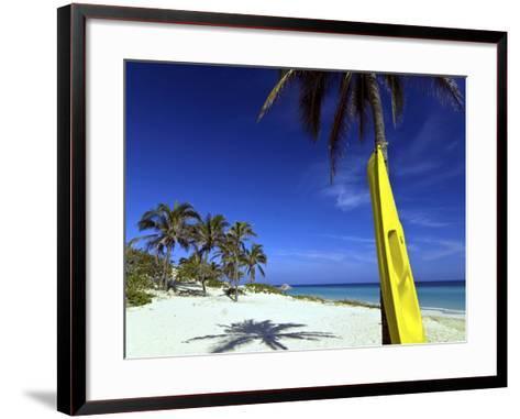 Yellow Canoe at the White Sand Beach of Playa Del Este, Cuba, West Indies, Caribbean--Framed Art Print