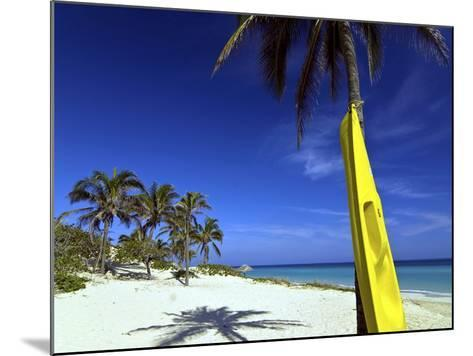 Yellow Canoe at the White Sand Beach of Playa Del Este, Cuba, West Indies, Caribbean--Mounted Photographic Print