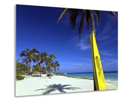 Yellow Canoe at the White Sand Beach of Playa Del Este, Cuba, West Indies, Caribbean--Metal Print