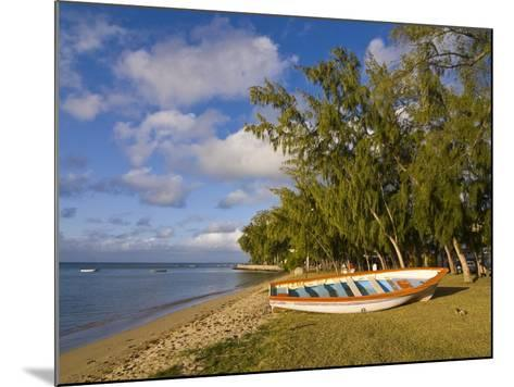 Fishing Boat on the Beach of Anse Aux Anglais in the Island of Rodrigues, Mauritius--Mounted Photographic Print