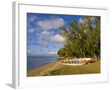 Fishing Boat on the Beach of Anse Aux Anglais in the Island of Rodrigues, Mauritius--Framed Art Print