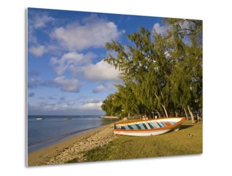 Fishing Boat on the Beach of Anse Aux Anglais in the Island of Rodrigues, Mauritius--Metal Print