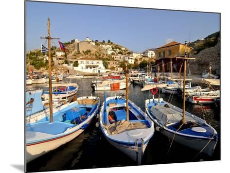 Small Boats in the Harbour of the Island of Hydra, Greek Islands, Greece, Europe--Mounted Photographic Print