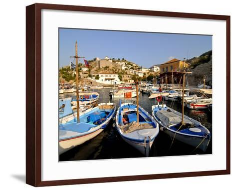 Small Boats in the Harbour of the Island of Hydra, Greek Islands, Greece, Europe--Framed Art Print